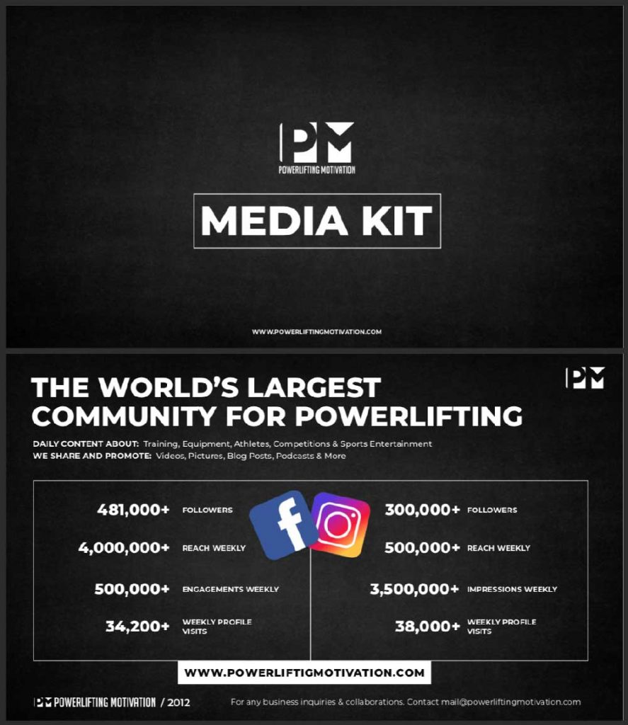 Powerlifting Motivation media presentation on instagram and facebook